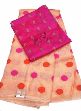 Peach Jute Silk Saree in Magenta Orange Polka Dots