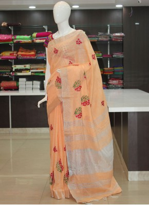 Peach Linen Saree in Embroidery Work Butis