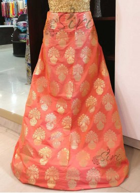 Peach Orange Double Shade Fancy Banarasi Silk Fabr