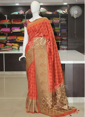 Peach Orange Printed Fancy Banarasi Dupion Silk Saree