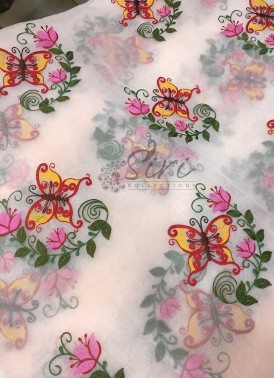 Peach Organza fabric in Butterfly Design Embroidery Work Per Meter