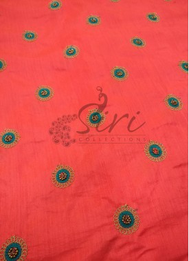 Peach Pink Double shade Banarasi Silk Fabric in Embroidery Bead Work Butis per Meter