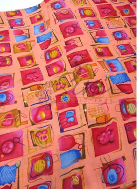 Peach Printed Cotton Fabric Per Meter