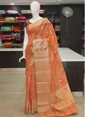 Peach Pure Cotton Silk Saree