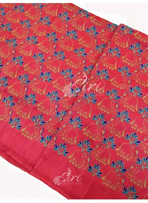 Peach Raw Silk Fabric in Embroidery Work Per Meter