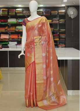 Peach Tissue Saree in Silver and Gold Zari Butis