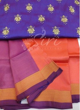 Peach Uppada Silk Saree with Designer Blouse Fabric