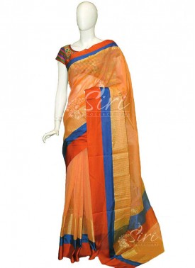 Peach Yellow Double Shade Fancy Chanderi Saree in Satin Finish Borders