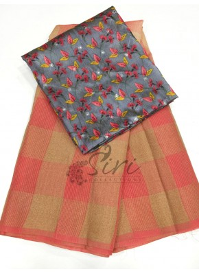 Peachy Gajri Pink Soft Jute Saree with Digital Print Blouse Fabric.