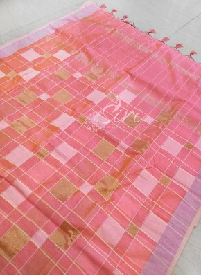Peachy Pink Fancy Saree in Self and Zari Checks