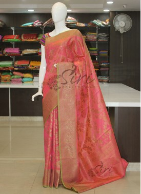 Peachy Pink Fancy Tissue Cotton Silk Saree