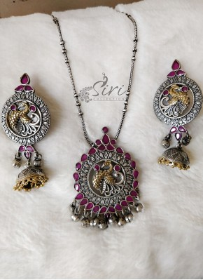 Peacock Design Metal Necklace Set