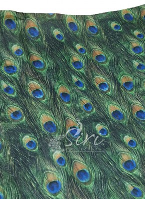 Peacock Feather Design Digital Print Slub Chanderi Fabric per Meter