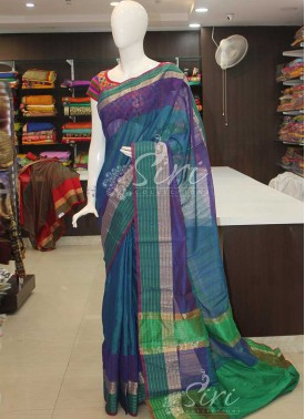 Peacock Green Blue Double Shade Cotton Silk Saree