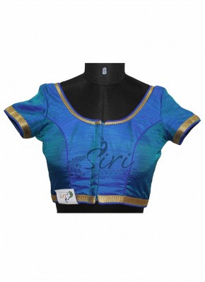 Peacock Blue Half Pattu Stitched Saree Blouse