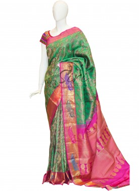 Peacock Green Pure Kanchipuram Saree with Magenta Pink Pallu and Border