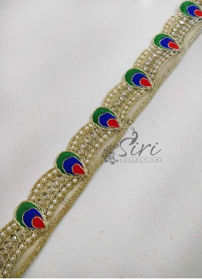 Pearl Stone Cording Work Cut Work Lace Border