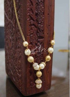 Pearls Chain Necklace in AD Stone Caps