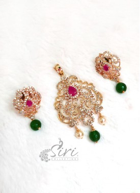 Pendant Set with Earrings in AD Stones