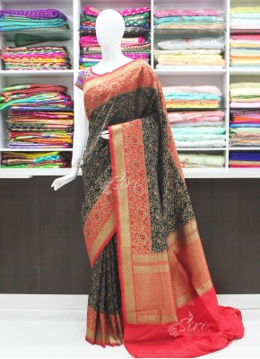 Perfect Black and Red Banarasi Silk Saree