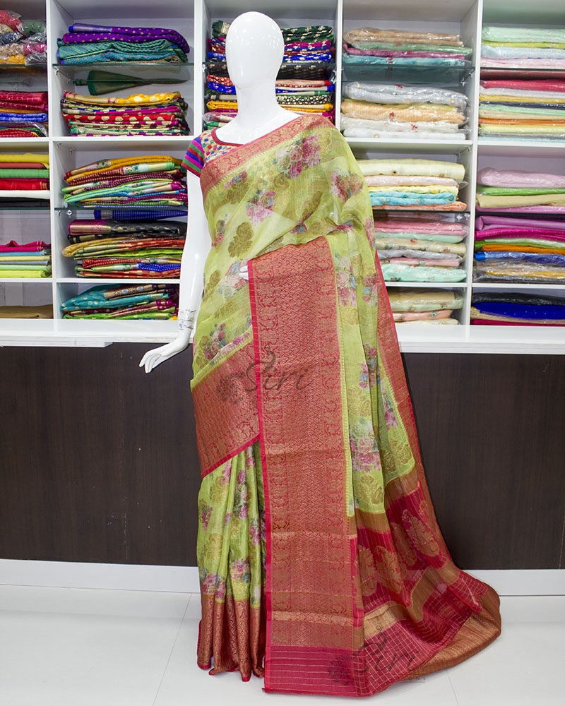 Perfect Green and Red Organza Saree in allover Flower Design with Kanchi Border
