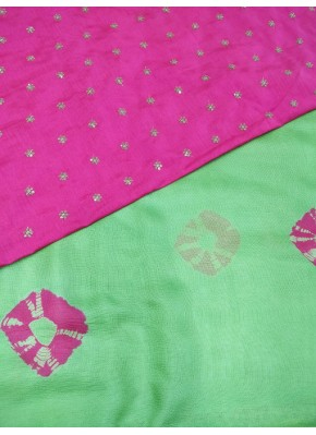 Perfect Green with Pink Shibori Print Jute Silk Saree with Blouse
