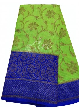 Perfect Parrot Green Tissue Banarasi Dupion Silk Saree with Contrast Border