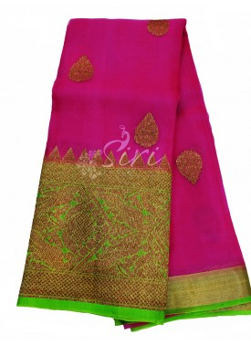 Perfect Pink/Magenta Banarasi Kora Handloom Silk Saree in Allover antique Buti Design