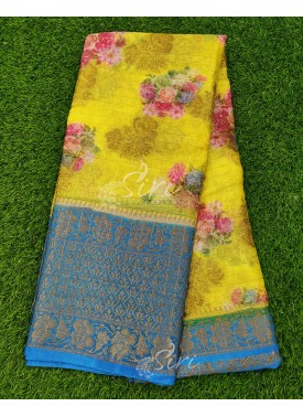 Perfect Yellow and Blue Organza Saree in allover Flower Design with Kanchi Border