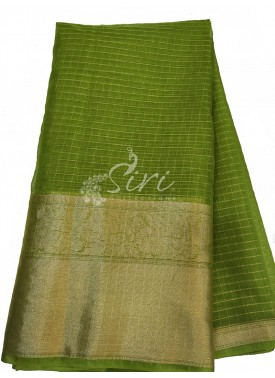 Pesara/Pista Green Organza Checks Fabric with Kanchi Border per meter