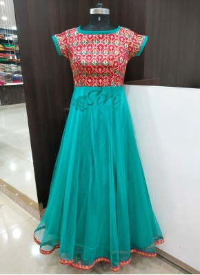 Pink and Sea Blue Beautiful Long Frock