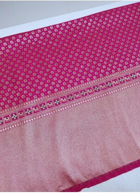 Pink Banarasi Silk Fabric in Border Design Per Meter