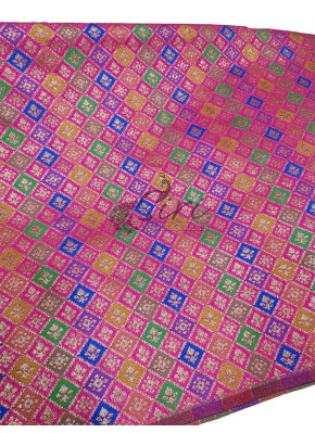 Pink Banarasi Silk Fabric in multi colour weave