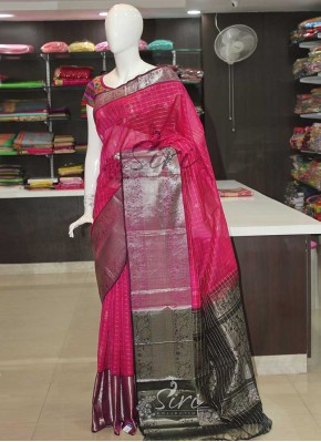 Pink Black Kuppadam Silk Saree in Silver Zari