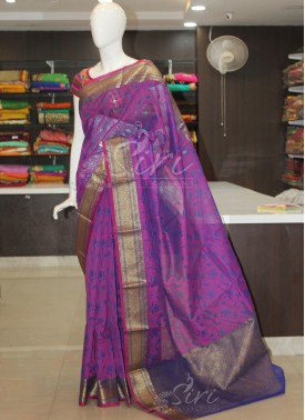 Pink Blue Designer Cotton Silk Saree in Floral Butis