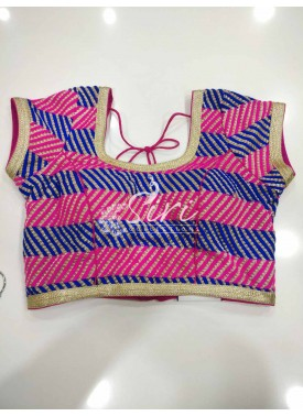 Pink Blue Gold Embroidery Work Designer Stitched Blouse
