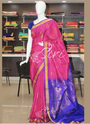 Pink Blue Pure Uppada Silk Saree
