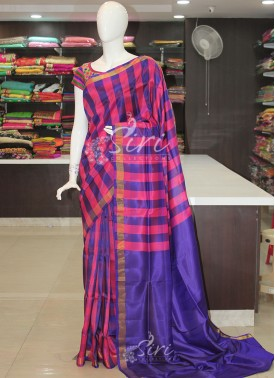 Pink Checks Uppada Pattu Silk Saree