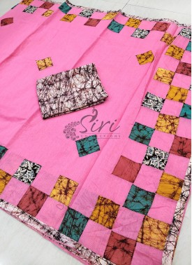 Pink Cotton Saree in Applique Work