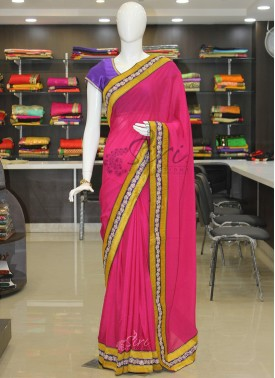 Pink Crepe Saree in Banarasi and Fancy Borders