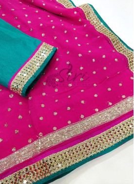 Pink Designer Georgette Saree in Sequins Work Butis and Border