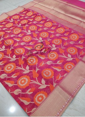 Pink Designer Saree in Allover Jaal With Rich Pallu