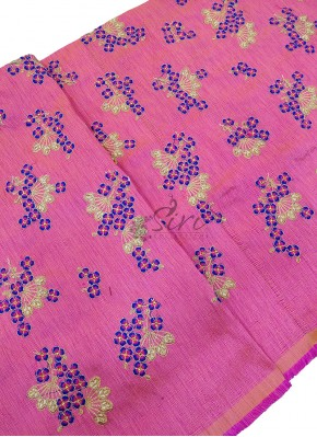 Pink Double Shade Raw Silk Fabric in Blue Embroidery Work Per Meter