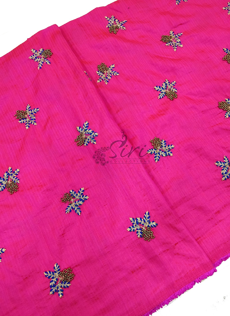Pink Double Shade Raw Silk Fabric in Embroidery Work Butis Per Meter