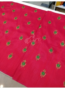 Pink Double shade Raw Silk Fabric in Green Colour Embroidery Work Butis per meter