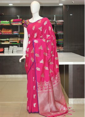 Pink Fancy Banarasi Silk Saree in Silver Zari