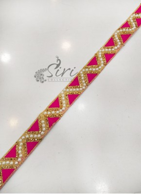 Pink Gold Fancy Lace Border in Stone and Pearl Work