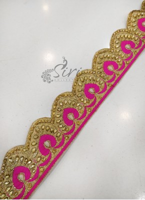 Pink Gold Saree Lace Border in Heavy Stone Cut Work