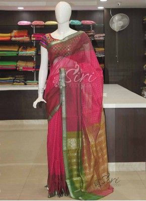 Pink Green Mangalagiri Pattu Saree