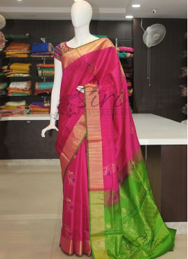 Pink Green Pure Handloom Designer Soft Silk Saree